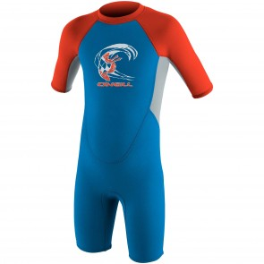 O'Neill Toddler Reactor 2mm Spring Wetsuit - Bright Blue/Grey/Neon Red
