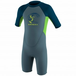 O'Neill Toddler Reactor 2mm Spring Wetsuit - Dusty Blue/DayGlo/Slate