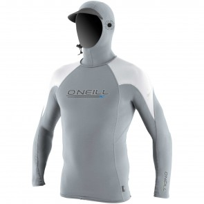 O'Neill Wetsuits Skins O'Zone Hooded Long Sleeve Rash Guard - Cool Grey/White
