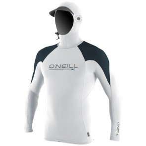O'Neill Wetsuits Skins O'Zone Hooded Long Sleeve Rash Guard - White/Slate/Reef