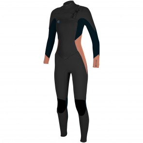 O'Neill Women's O'Riginal 4/3 Chest Zip Wetsuit - Black/Slate/Grapefruit