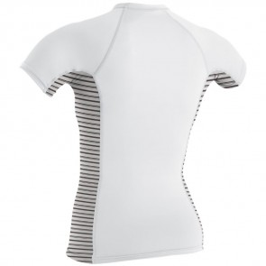 O'Neill Wetsuits Women's Side Print Short Sleeve Rash Guard - White/Highway Stripe
