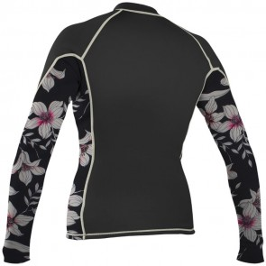 O'Neill Wetsuits Women's Chest Zip Rash Guard - Black/Albany/Champagne