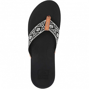 Reef Women's Ortho Bounce Woven Sandals - Black/White - Top