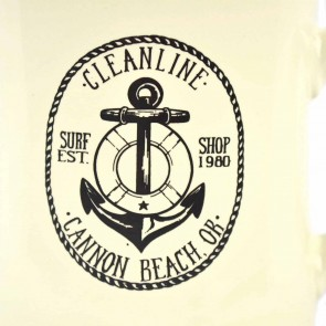 Cleanline Anchor Cannon Beach Mug - Cream/Black