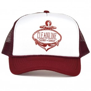 Cleanline Anchor Trucker Hat - Cardinal/White