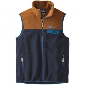 Patagonia Lightweight Synchilla Snap-T Fleece Vest - Navy Blue/Bear Brown