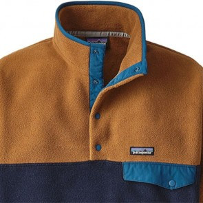 Patagonia Lightweight Synchilla Snap-T Fleece Pullover - Navy Blue/Bear Brown