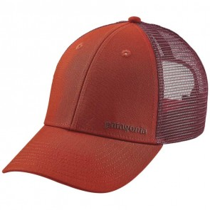 Patagonia Small Text Logo LoPro Trucker Hat - Roots Red