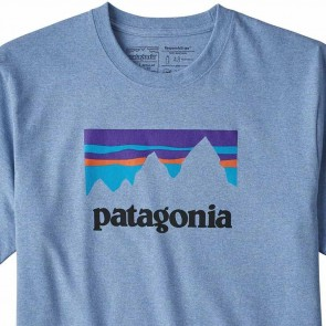 Patagonia Shop Sticker Responsibili T-Shirt - Railroad Blue