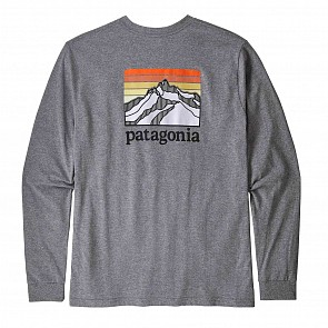 Patagonia Lines Logo Long Sleeve T-Shirt - Gravel Heather