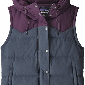 Patagonia Women's Bivy Down Hooded Vest - Smolder Blue/Deep Plum