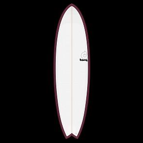 Tork Mod Fish 6'6 x 21 x 2 5/8 Surfboard - Burgandy/White - Deck