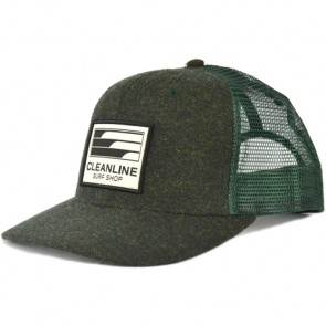 Cleanline Lines Trucker Hat - Dark Green/Herringbone