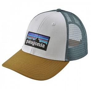 Patagonia P-6 LoPro Trucker Hat - White/Kastanos Brown