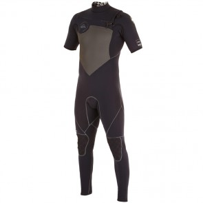 Quiksilver AG47 Performance 2mm Short Sleeve Full Chest Zip Wetsuit - Black