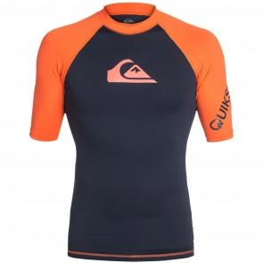 Quiksilver Wetsuits All Time Short Sleeve Rash Guard - Blue/Orange