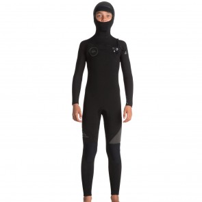Quiksilver Youth Syncro 5/4/3 Hooded Chest Zip Wetsuit - Black/Jet Black