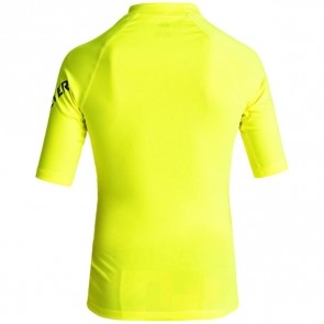 Quiksilver Wetsuits Youth All Time Short Sleeve Rash Guard - Safety Yellow