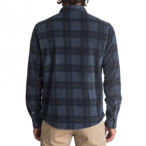 Quiksilver Surf Days Polar Fleece Long Sleeve Shirt - Navy Blazer Check
