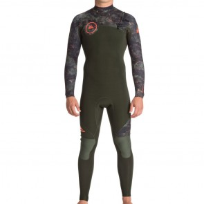 Quiksilver Syncro 3/2 Chest Zip Wetsuit - Dark Ivy/Camo/Shrimp Pink