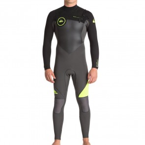 Quiksilver Syncro Plus 3/2 Chest Zip Wetsuit - Jet Black/Safety Yellow