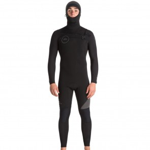 Quiksilver Syncro 5/4/3 Hooded Chest Zip Wetsuit - Black/Jet Black