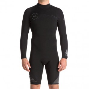 Quiksilver Syncro 2mm Long Sleeve Back Zip Spring Wetsuit - Black/Jet Black