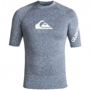 Quiksilver Wetsuits All Time Short Sleeve Rash Guard - Dark Denim Heather