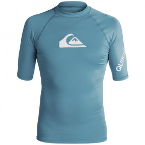 Quiksilver Wetsuits All Time Short Sleeve Rash Guard - Captains Blue/White