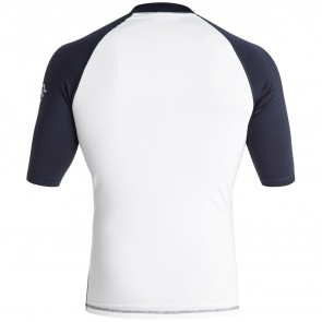 Quiksilver Wetsuits All Time Rash Guard - White/Navy Blazer