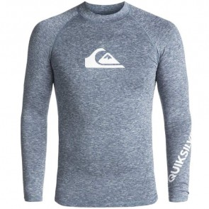 Quiksilver Wetsuits All Time Long Sleeve Rash Guard - Dark Denim Heather