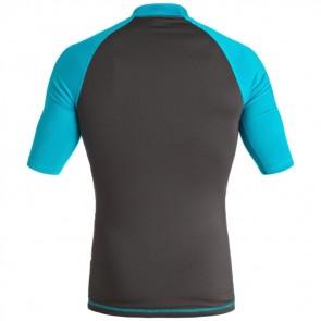 Quiksilver Wetsuits Active Short Sleeve Rash Guard - Tarmac/Blue Danube
