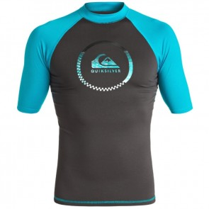 Quiksilver Wetsuits Active Short Sleeve Rash Guard - Tarmac/Blue Danube