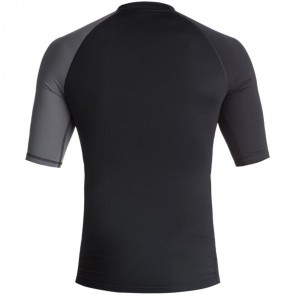 Quiksilver Wetsuits Active Short Sleeve Rash Guard - Black/Iron Gate