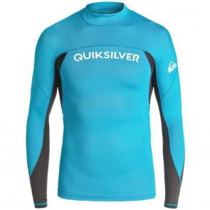 Quiksilver Wetsuits Youth Performer Long Sleeve Rash Guard - Blue Danube/Tarmac