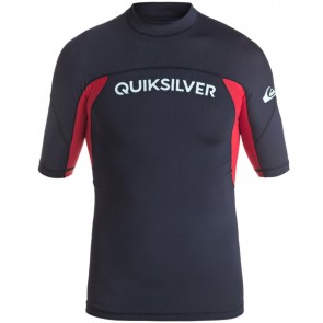 Quiksilver Wetsuits Youth Performer Short Sleeve Rash Guard - Navy Blazer/Red