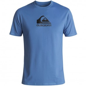 Quiksilver Wetsuits Solid Streak Short Sleeve Rash Guard - Electric Blue