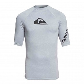 Quiksilver All Time Short Sleeve Rash Guard - Light Grey Heather