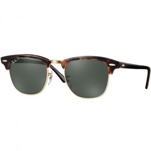 Ray-Ban Clubmaster Polarized Sunglasses - Red Havana/Crystal Green