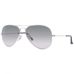 Ray-Ban Aviator Sunglasses - Silver/Crystal Grey Gradient