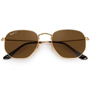 Ray-Ban Hexagonal Flat Polarized Sunglasses - Gold/Brown