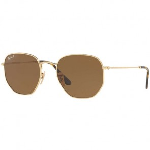 5cc644cab4 Ray-Ban Hexagonal Flat Polarized Sunglasses - Gold Brown ...