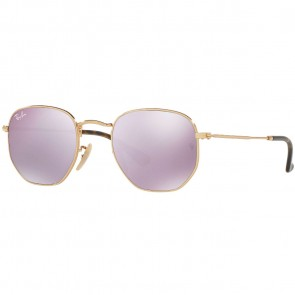 Ray-Ban Hexagonal Flat Sunglasses - Gold/Lilac Mirror