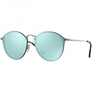 Ray-Ban Blaze Round Sunglasses - Silver/Dark Green Mirror
