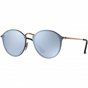 Ray-Ban Blaze Round Sunglasses - Bronze Copper/Blue Silver Mirror