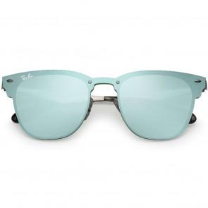 Ray-Ban Blaze Clubmaster Sunglasses - Silver Dark Green/Silver Mirror