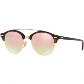 Ray-Ban Clubround Sunglasses - Shiny Red Havana/Copper Gradient