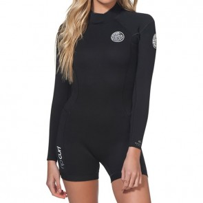ed33f0afe7 Rip Curl Women s Dawn Patrol 2mm Long Sleeve Back Zip Spring Wetsuit -  Black ...