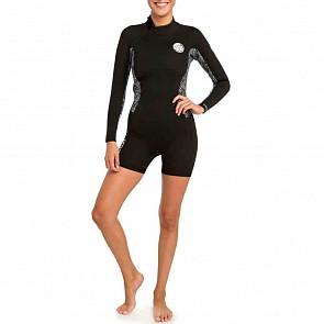 Rip Curl Women's Dawn Patrol 2mm Long Sleeve Back Zip Spring Wetsuit - Black/White